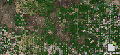 Paisaje desde el aire: Pivots en Kansas